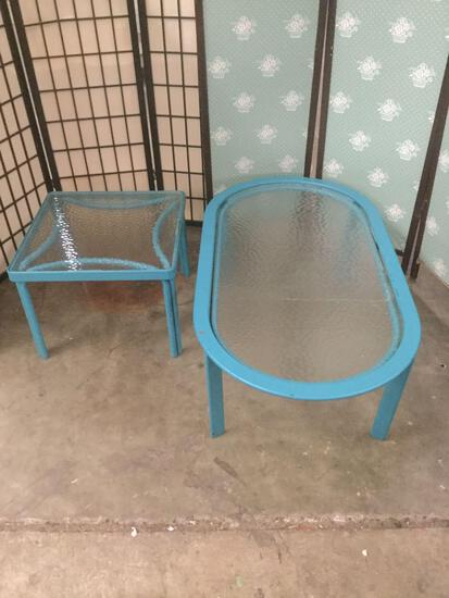 Matching vintage glass top patio tables, side table, & coffee table