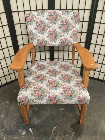 Wood armchair w/ floral upholstered seat & back