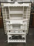 2 pc. lot vintage white washed Victorian sideboard / display curio w/ hanging display shelf, as is
