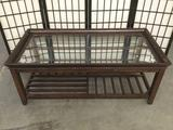 Modern glass top mahogany coffee table with slatted bottom tier - matches next lot