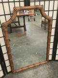 Vintage decorative frame wall mirror mirror, approx. 38 x 26 inches.