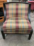 Drexal Heritage Collection upholstered parlor chair, plaid striped upholstery, signed