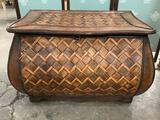 Modern wooden storage trunk with woven design, Approx and 31 x 18 x 19 inches.