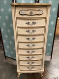 Vintage 5-drawer dresser, shows wear, approximately 19 x 14 x 50 inches.
