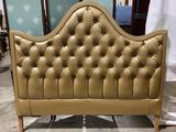 Vintage gold vinyl wrapped full/queen size headboard, approximately 60 x 54 inches.
