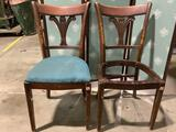 2 antique Tell City wood carved dining chairs, 1 missing seat, approx. 17 x 19 x 35 in.