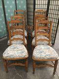 Lot of 6 matching wood dinning chairs w/ attached floral design cushions