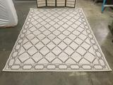 Blue & white Frontgate rug w/ geometric designs, approx. 130x91 in.