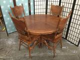 Wood dinning table w/ 4 chairs, table approx. 48x48x30 inches