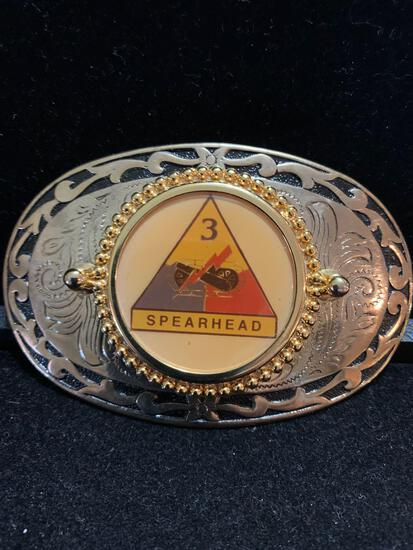 3rd Spearhead Challenge coin belt buckle