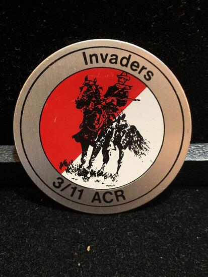 Challenge Coin : Invaders 3/11 ACR w/ tank on reverse