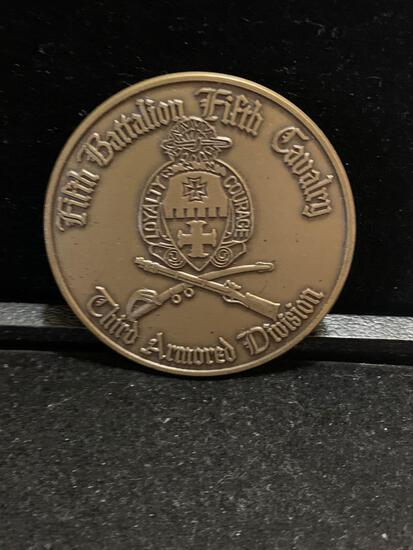 Large Challenge Coin: Fifth Battalion fifth Cavalry/3d Armored Division/ Bayonets Ready 1st Brigade