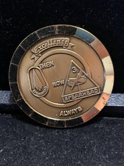 Challenge Coin : 3d Spearhead excellence then now always / Compliments of the commanding General