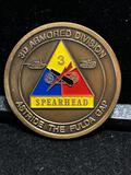 Challenge Coin : 3d Armored Division Spearhead/ Astride The Fulda Gap/ Awarded for excellence