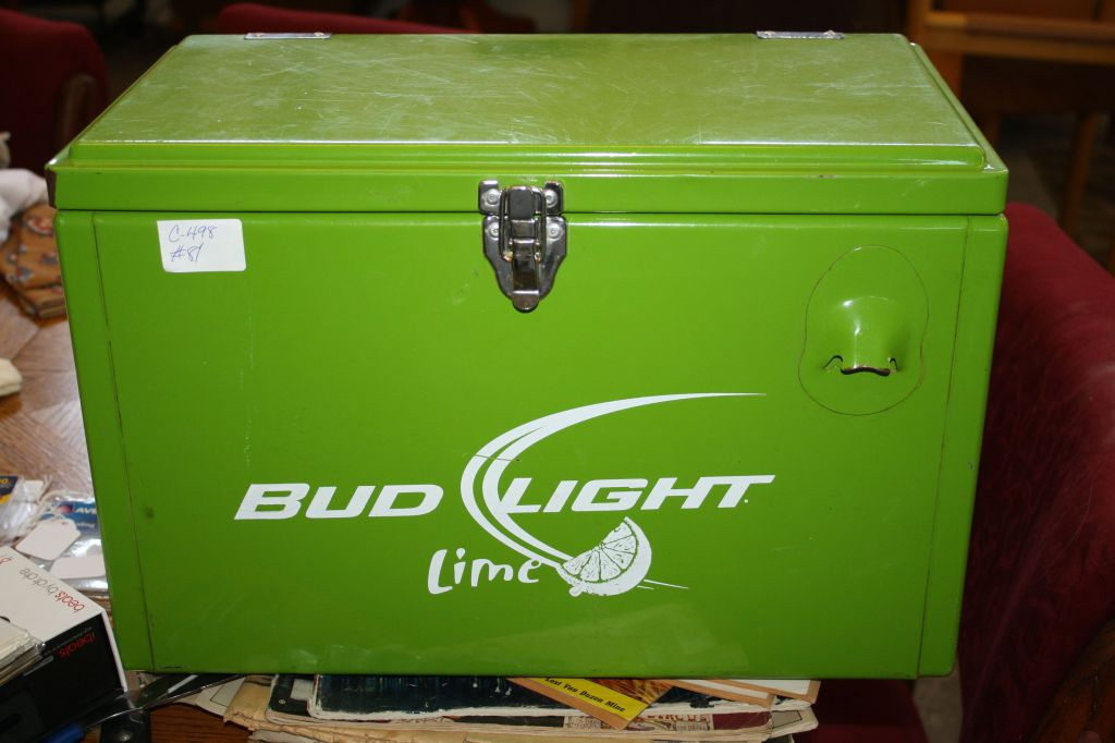 Lot: Very Cool Promotional Bud Light Lime Stainless Steel Cooler