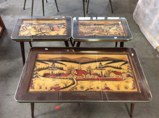 Unique Mid Century Dbgm Hand Carved Colored German Coffee Table End Set