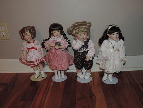 Lot Of 4 Porcelain Head Doll