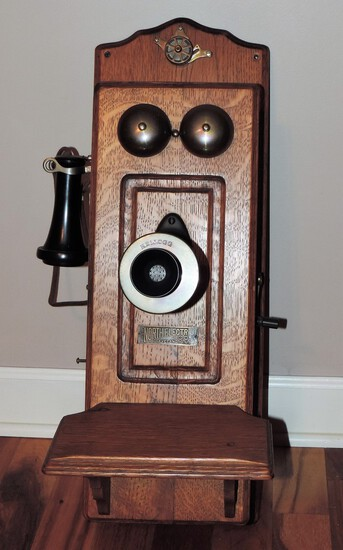 Antique North Electric Oak Wall Phone