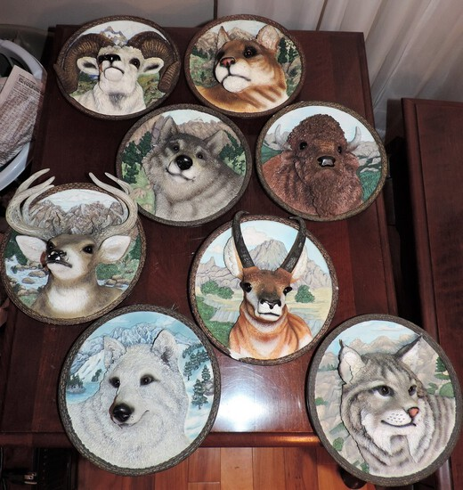 """Lot Of 8 """"Faces Of The Wild"""" Bradford Exchange Collectors Plates"""