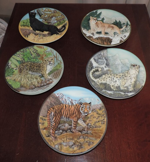 """Lot Of 5 """"Fierce And Free The Big Cats"""" Bradford Exchange Collector Plates"""