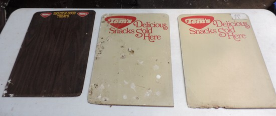 Lot of (3) Vintage Tom's Flake board Signs