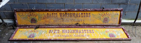 (2) Large Vintage Hand Painted Catawba Valley Oasis Hand Painted Signs