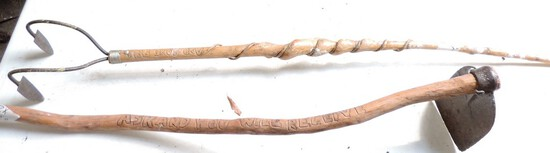 Pair of Hand Carved Folk Art Tool Handles