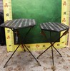 PAIR OF BLACK & WHITE TILE TOP TABLES
