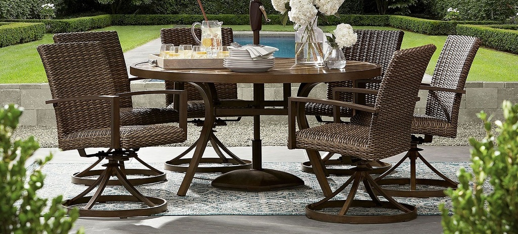 New Member S Mark Agio Fremont 7 Piece Round Dining Setÿ Estate Personal Property Furniture Dining Sets Online Auctions Proxibid