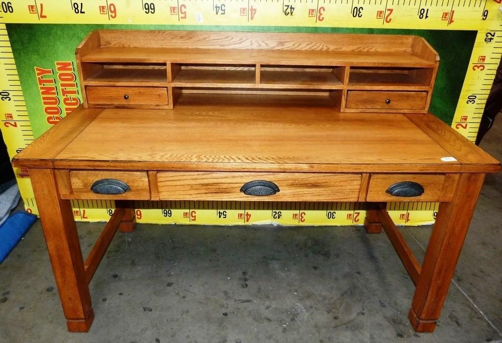 Mission Style Solid Oak Desk With Sm Hutch Estate Personal Property Furniture Desks Online Auctions Proxibid