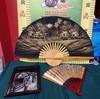 THREE DECORATIVE ASIAN FANS & WALL ART