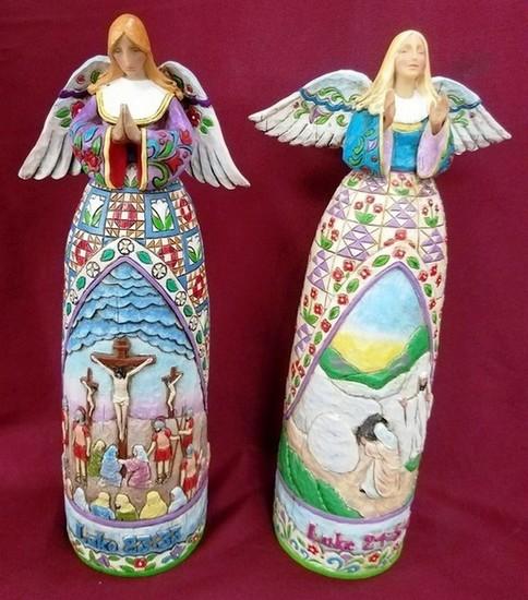PAIR OF JM SHORE - HEARTWOOD ANGELS