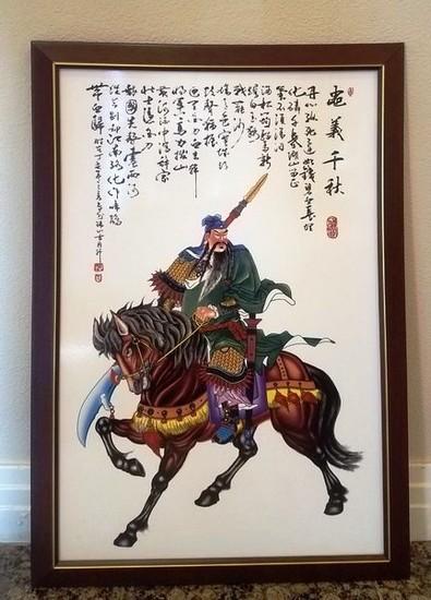 ASIAN WARRIOR ON HORSE FRAMED ARTWORK