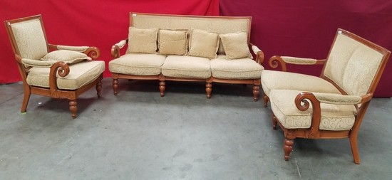 3PC PARLOR SEATING SET W/ PILLOWS - SOFA, LOVESEAT & CHAIR