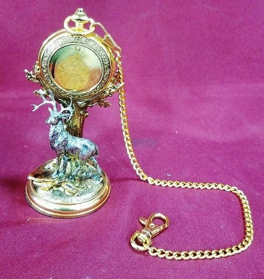 NEW DEER THEME POCKET WATCH W. STAND FROM THE FRANKLIN MINT