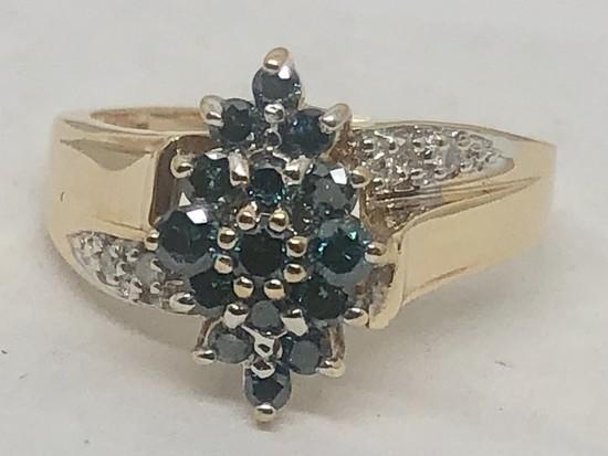 14KT YELLOW GOLD BLUE DIAMOND RING