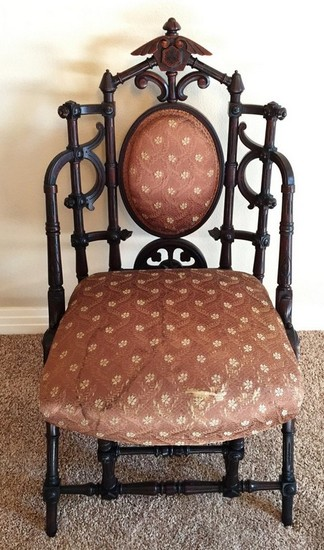 ANTIQUE MAHOGANY OCCASIONAL CHAIR WITH PADDED BACK