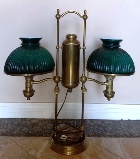 VINTAGE BRASS DESK LAMP WITH GREEN GLASS SHADES
