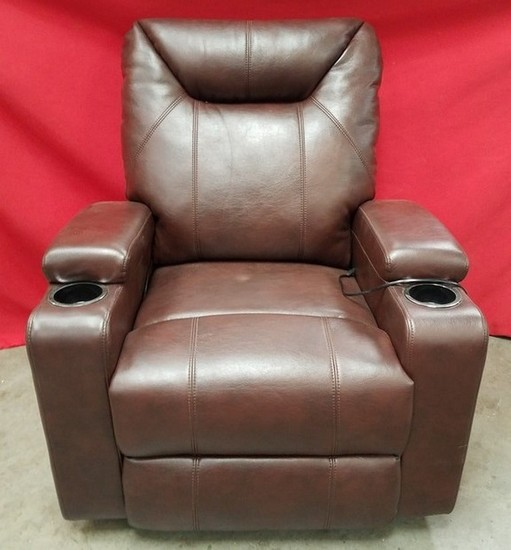 BRAND NEW LEATHER THEATER SEATING POWER RECLINER CHAIR