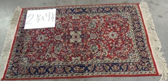 2 1/2' BY 4 1/2' HAND MADE ANTIQUE AREA RUG