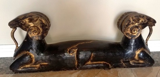 BLACK & GOLD EGYPTIAN GOATS WOOD CARVING
