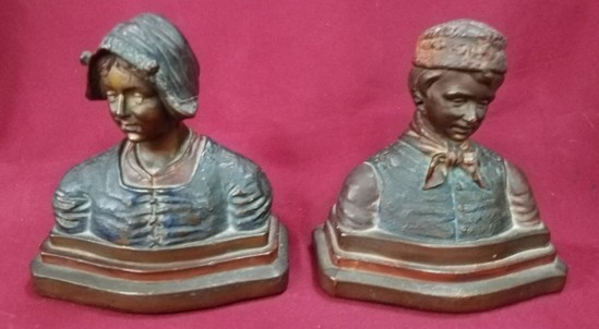 """PAIR OF 8"""" TALL BRONZE BUSTS - YOUNG MAN & WOMAN - ANTIQUE??"""