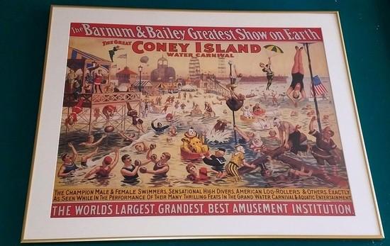 THE BARNUM & BAILEY GREATEST SHOW  - CONEY ISLAND FRAMED  ARTWORK