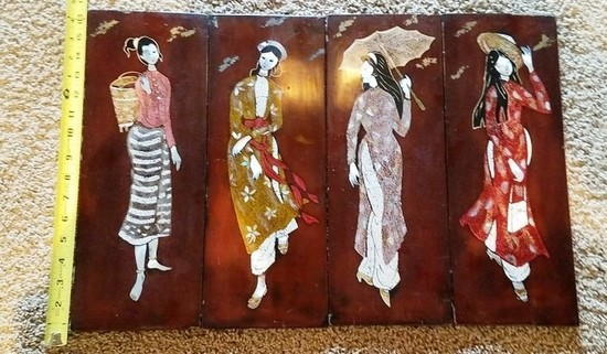 """SET OF (4)  16"""" INCH TALL WALL PANEL SET - ASIAN LADIES"""