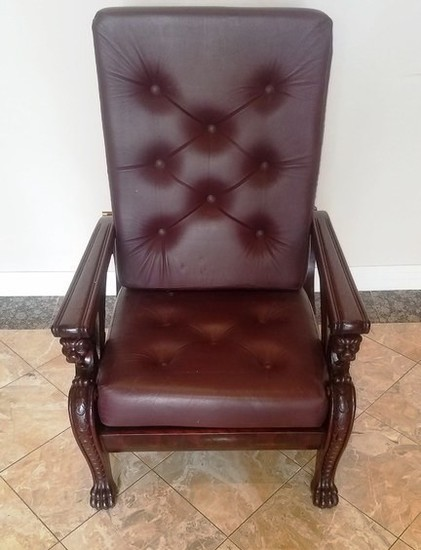 MAHOGANY FRAMED CARVED ARM CHAIR W/ ADJUSTABLE BACK
