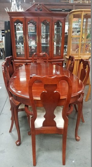 CHERRY WOOD DINING ROOM SET - TABLE & 6 CHAIRS W/ CHINA CABINET