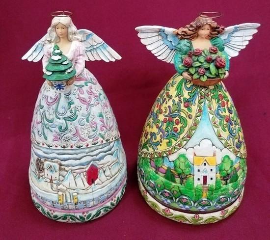 PAIR OF JIM SHORE - HEARTWOOD ANGELS