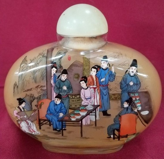 """6"""" TALL REVERSE HAND PAINTED PERFUME BOTTLE"""