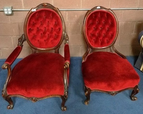 PAIR OF GREAT RED TUFTED VICTORIAN MAHOGANY CHAIRS