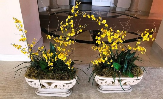 PAIR OF YELLOW FLOWERS DCOR CENTER PIECES